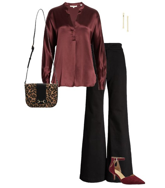New Year's Eve outfit - satin top and wide pants | 40plusstyle.com
