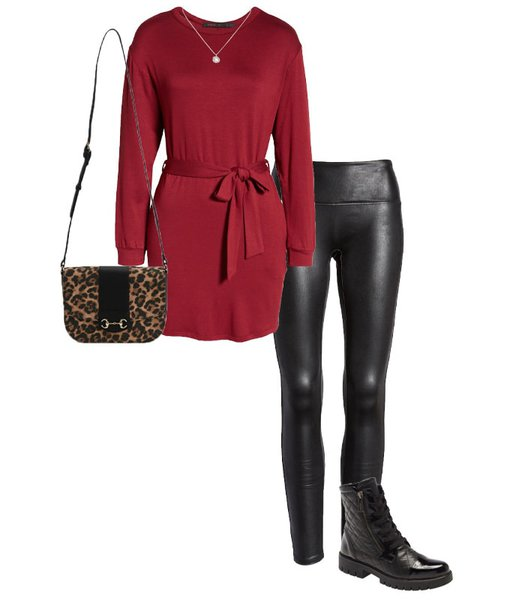 NYE outfit - sweater dress and leather leggings | 40plusstyle.com