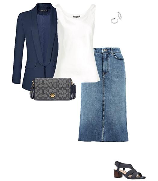 Wearing a denim skirt with a blazer | 40plusstyle.com