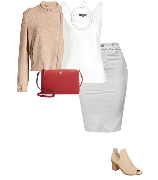 Denim skirt and a moto jacket | 40plusstyle.com