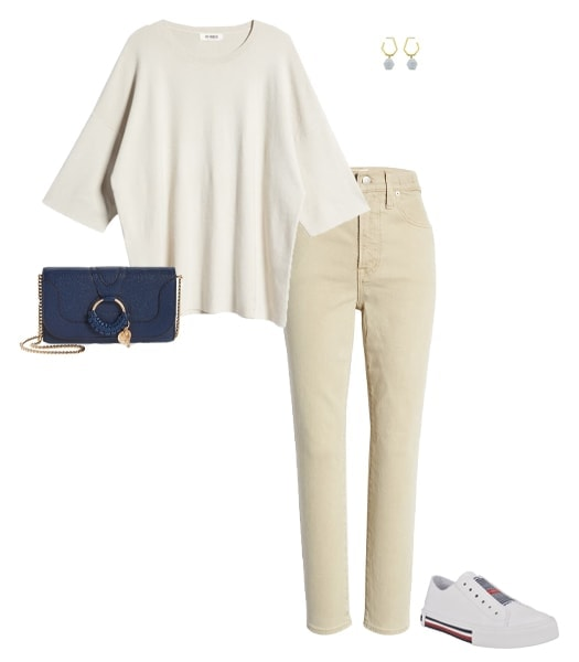 Oversized shirt tucked in pants | 40plusstyle.com