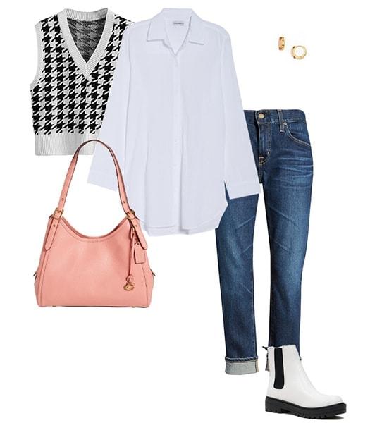 Jeans mit Bündchen und weiße Stiefel |  40plusstyle.com