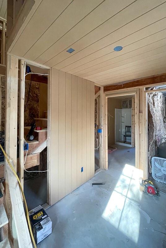 pool house progress MDF paneled walls