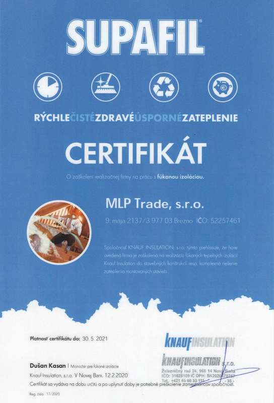 Certifikát fúkaná izolácia Supafil Knauf