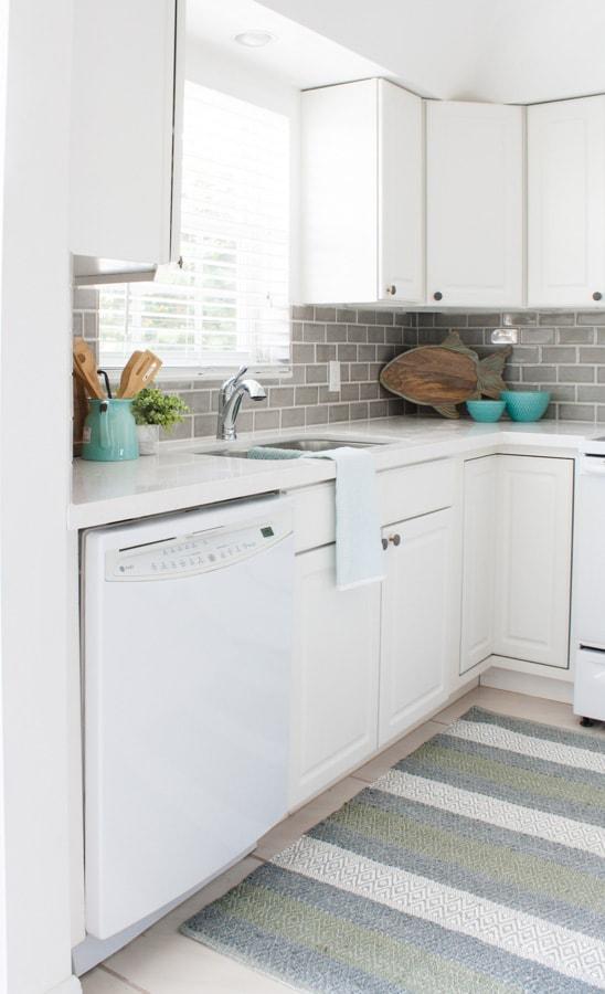 Coastal Grey and White Beach Condo Kitchen
