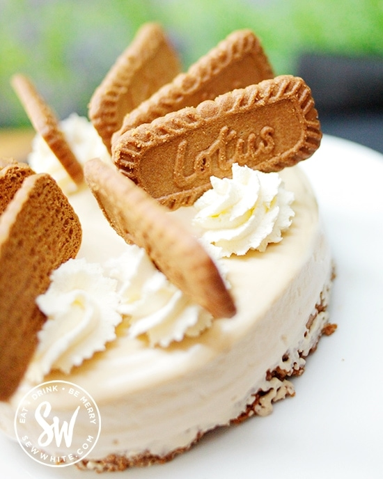 An easy to make soft and silky cream cheese Biscoff Cheesecake decorated with Biscoff biscuits.