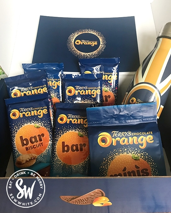 Terry's Chocolate orange gift box filled with Terry's Chocolate Orange minis, Terry's Chocolate Orange bars