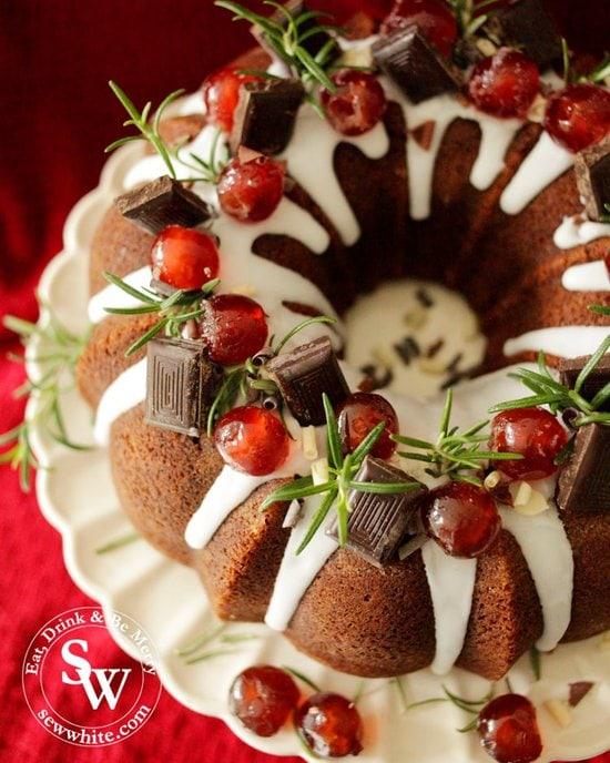 Chocolate chunks on the christmas black forest bundt cake.