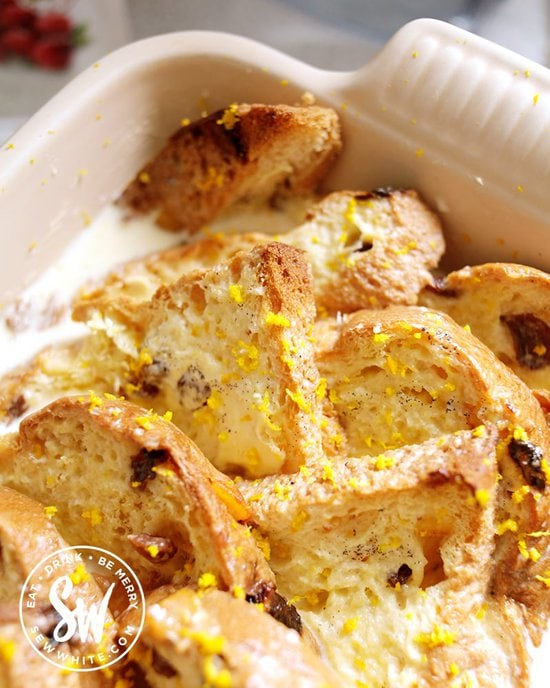 Orange zest on the panettone bread and butter pudding