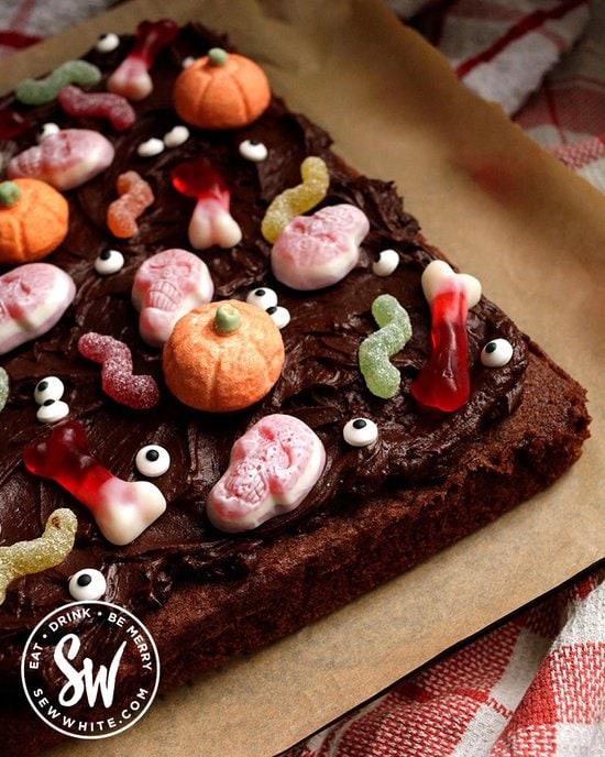 Gooey Chocolate Halloween Cake with candy