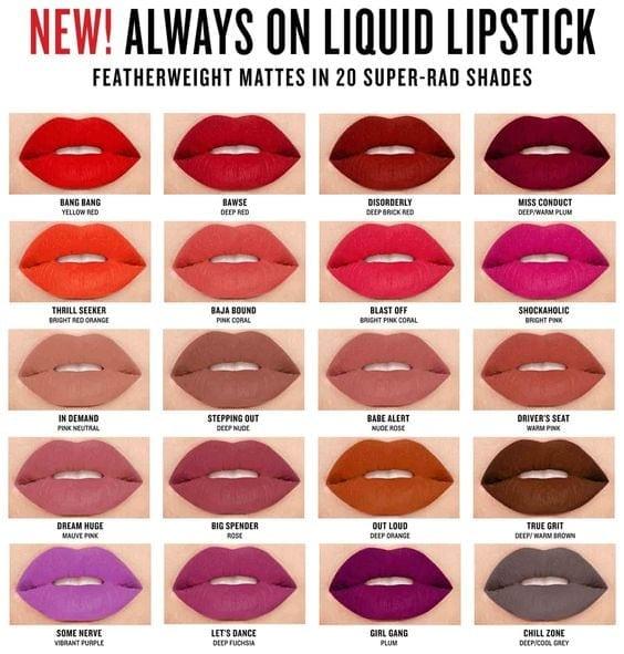Swatches of Smashbox Always On Matte Liquid Lipstick