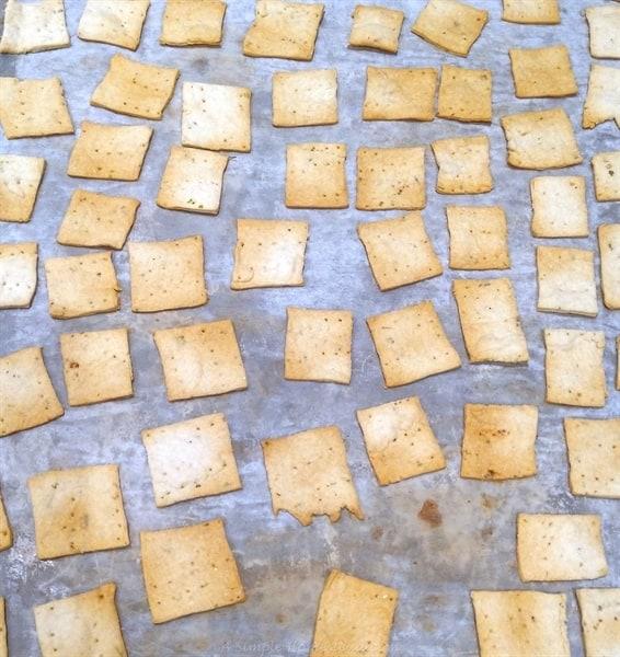 Baked sourdough crackers