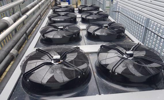 Chiller service of fan decks showing 8 fans