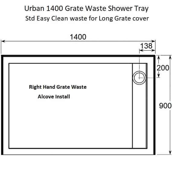 RH Grate Waste shower Tray dimensions