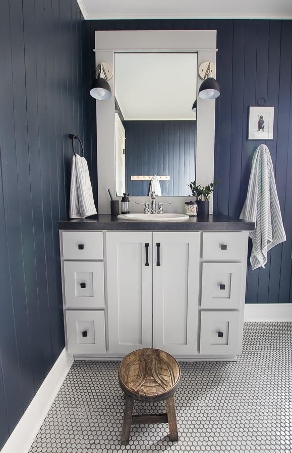 gray vanity navy planked walls bathroom ideas