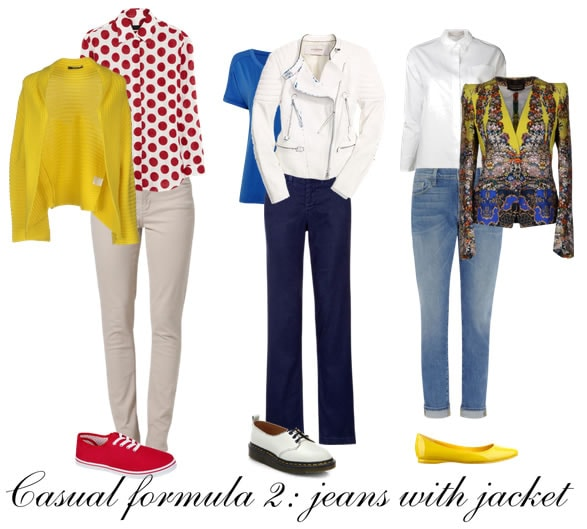 How to look great in casual clothes - formula 2 - Jeans with a jacket   40plusstyle.com