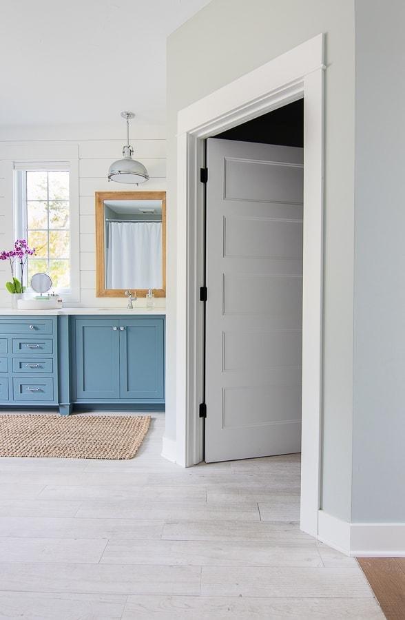 blue and white master bathroom lake house