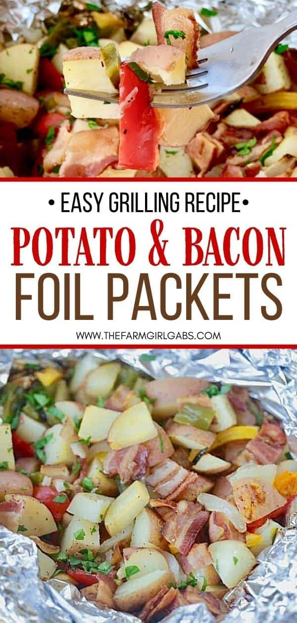 Fire up the grill and make this Potato And Bacon Foil Packets recipe. This easy grilled side dish is a perfect summer recipe or camping recipe. And it has bacon in it!
