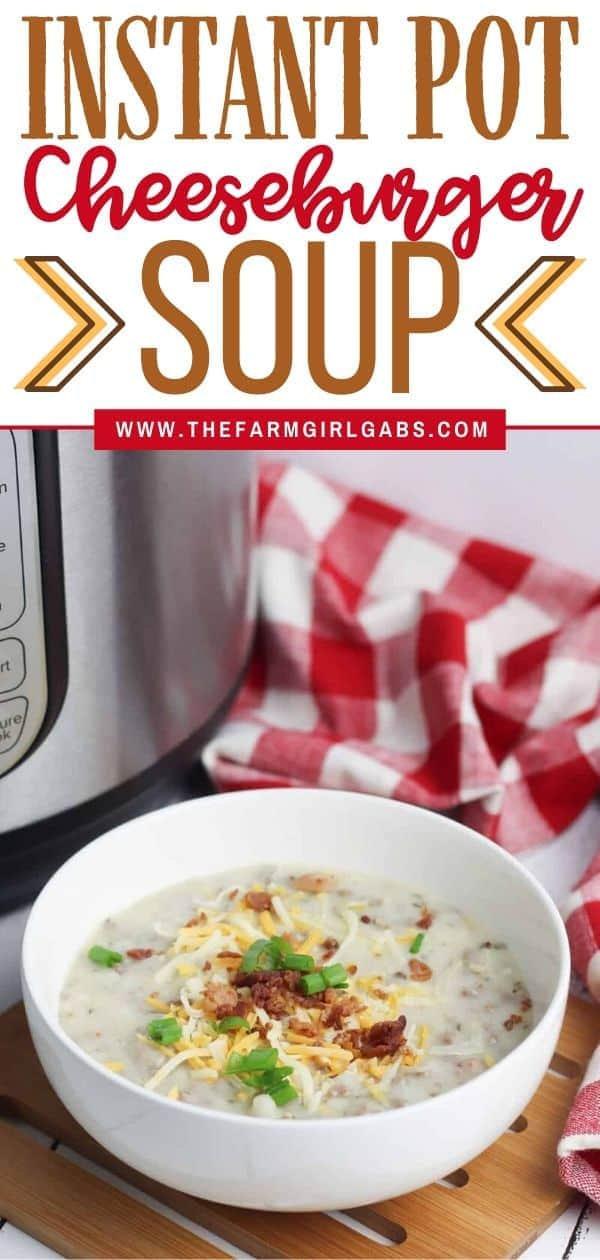 Warm-up with a comforting bowl of this tasty Instant Pot Cheeseburger Soup. This hearty Instant Pot soup recipe is made from scratch and ready in no time. This instant pot recipe is an easy weeknight meal and a delicious comfort food recipe. #instantpotrecipe #soup #cheeseburgersoup