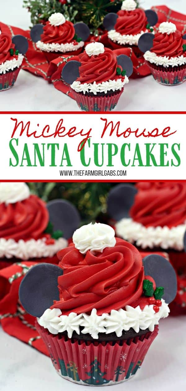 Make this Christmas a Disney Christmas. These adorable Mickey Mouse Santa Cupcakes are the perfect holiday Disney snack to celebrate Christmas. This Disney dessert is so easy and festive. Add a cute Mickey Santa hat to these decorated Christmas cupcakes. #disneysnack #christmascupake #disneyfood