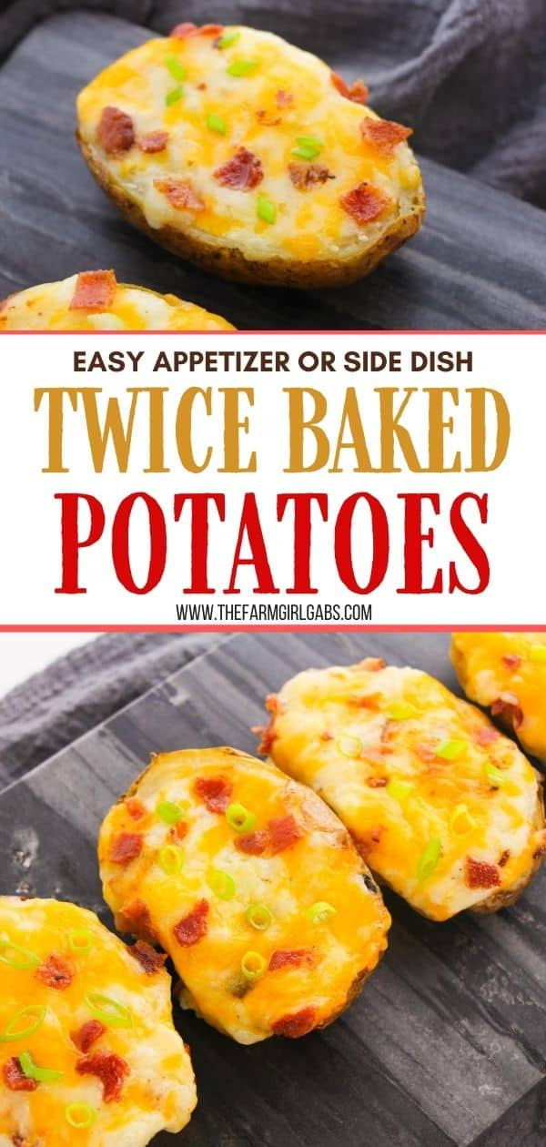 These Best Twice Baked Potatoes With Bacon are a cheesy, creamy and filled with lots of bacon. This easy potato recipe is perfectly portioned and can be made in advance.