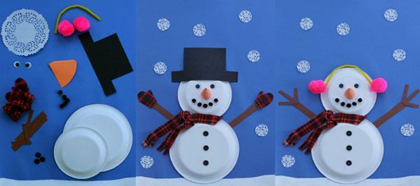 Bonhomme de neige avec deux assiettes en carton