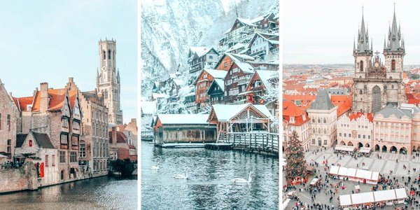 We created not just one but TWO detailed winter Europe travel itineraries! The 2-week Northwestern Europe itinerary takes you from Copenhagen to Bremen to Amsterdam to Bruges to Brussels. The Central Europe itinerary takes you from Vienna to Hallstatt to Cesky Krumlov to Prague. From Christmas Markets to castles, these itineraries have it all!