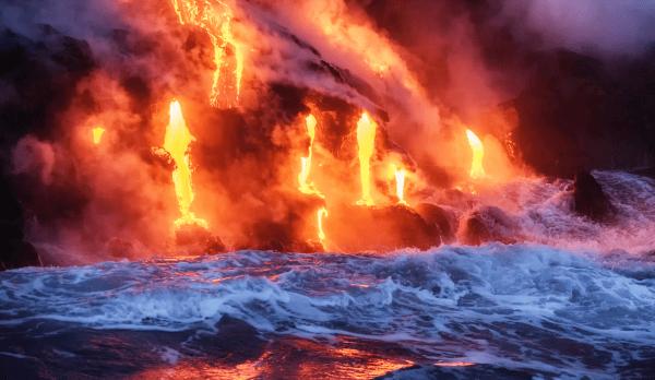 energetic power of Hawaiian lava flowing into the ocean