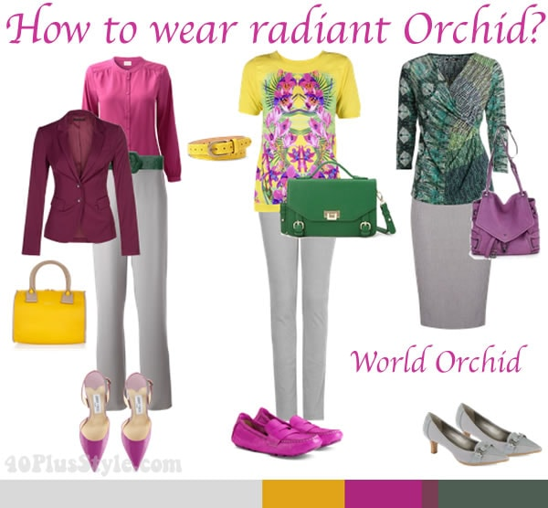 how to wear radiant orchid with the wild orchid palette | 40PlusStyle.com
