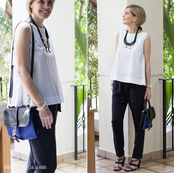 Mixing black and white with cobalt blue | 40plusstyle.com