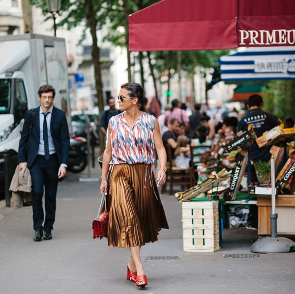 A stroll in Paris with a gold pleated skirt   40plusstyle.com