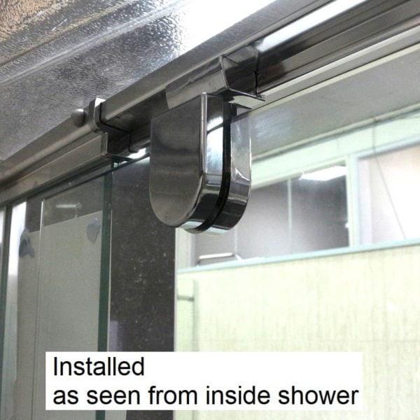 shower door pivot A3PB chrome installed from inside shower - ShowerDoorParts