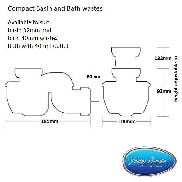 Space Mate basin and bath trap dimensions