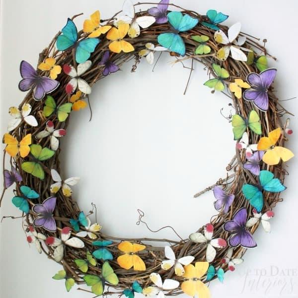 easy DIY spring butterfly wreath