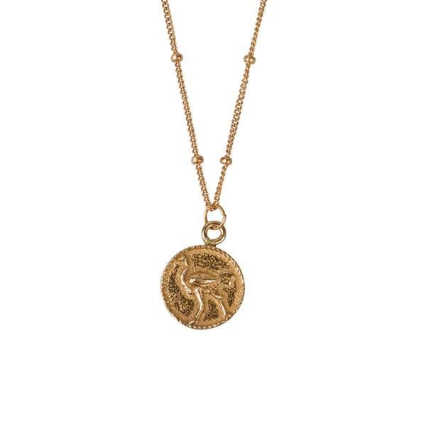 À la Small Ostrich Coin Necklace