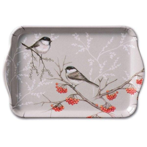 Ambiente dienblad Bird On Branch grijs 13x21cm