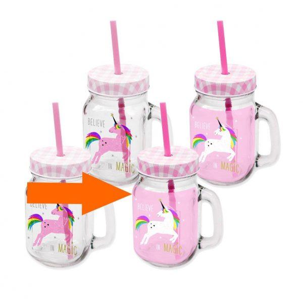 PPD drinkglas Unicorn roze