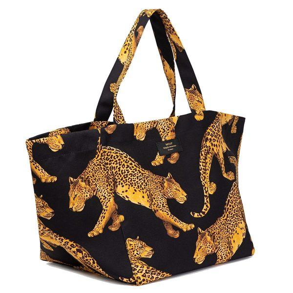 Wouf Black Leopard Totebag XL lopsided