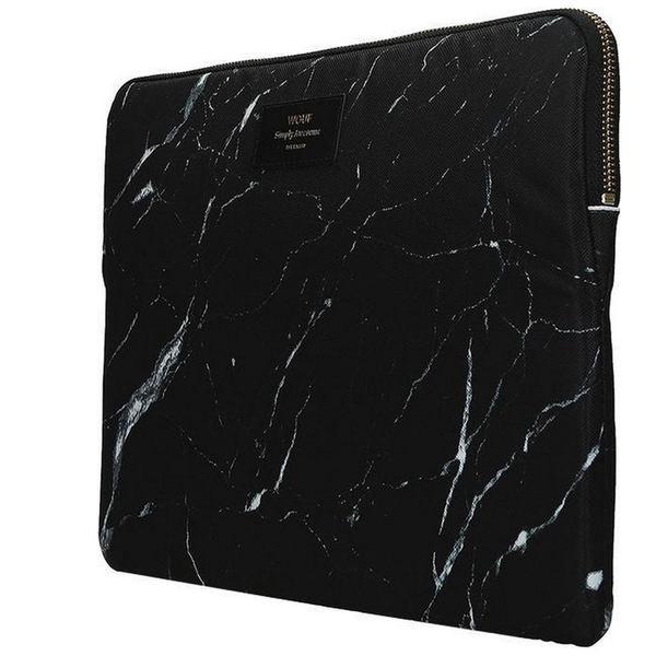 Zijkant laptophoes Zwart marmer