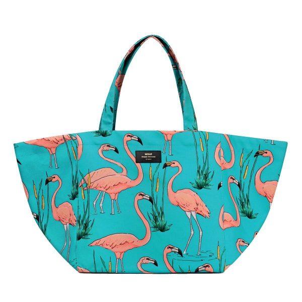 WOUF Draagtas Pink Flamingos