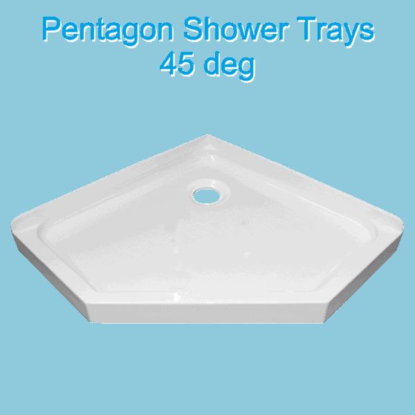 pentagon-45 deg-shower-tray-rear-waste-Henry Brooks