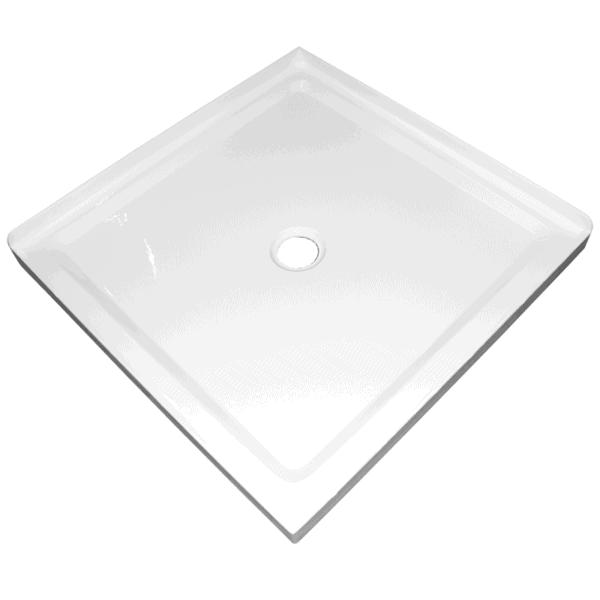 900mm x 900mm 2 sided corner shower tray center waste 50mm step Henry Brooks