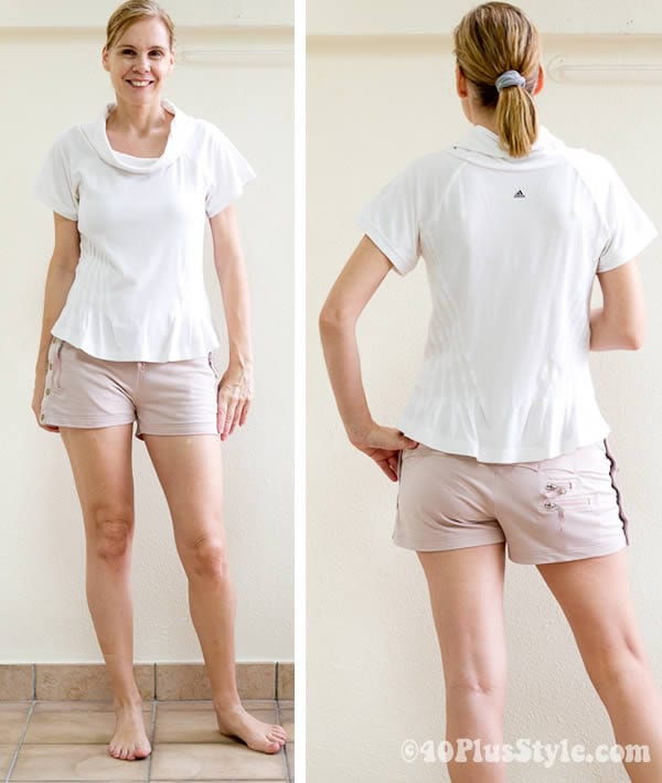 Pink and cream yoga shorts and cream top | 40plusstyle.com