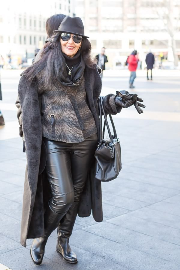 New York street style featuring 40+ women wearing leather   40PlusStyle.com