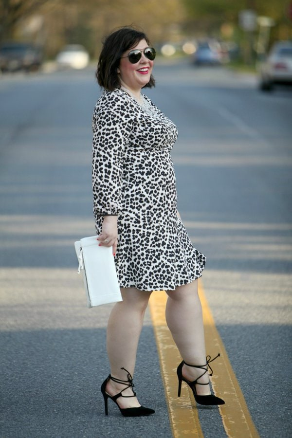 White cheetah print dress   40plusstyle.com
