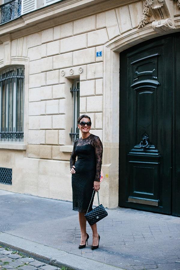 Little black dress outfit: Givenchy black lace dress with Gucci vintage bag   40plusstyle.com
