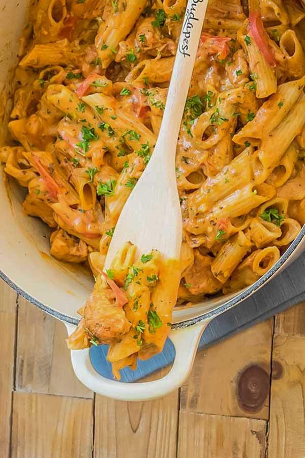 chicken paprikash pasta, gluten-free