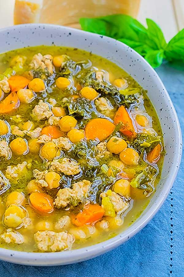 pesto chickpea soup, instant pot
