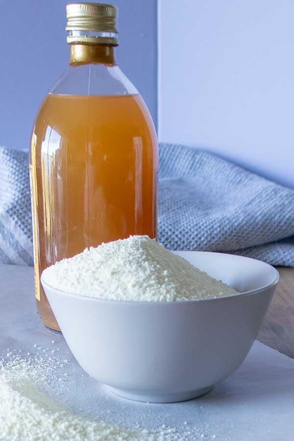 apple cider vinegar, powder sugar