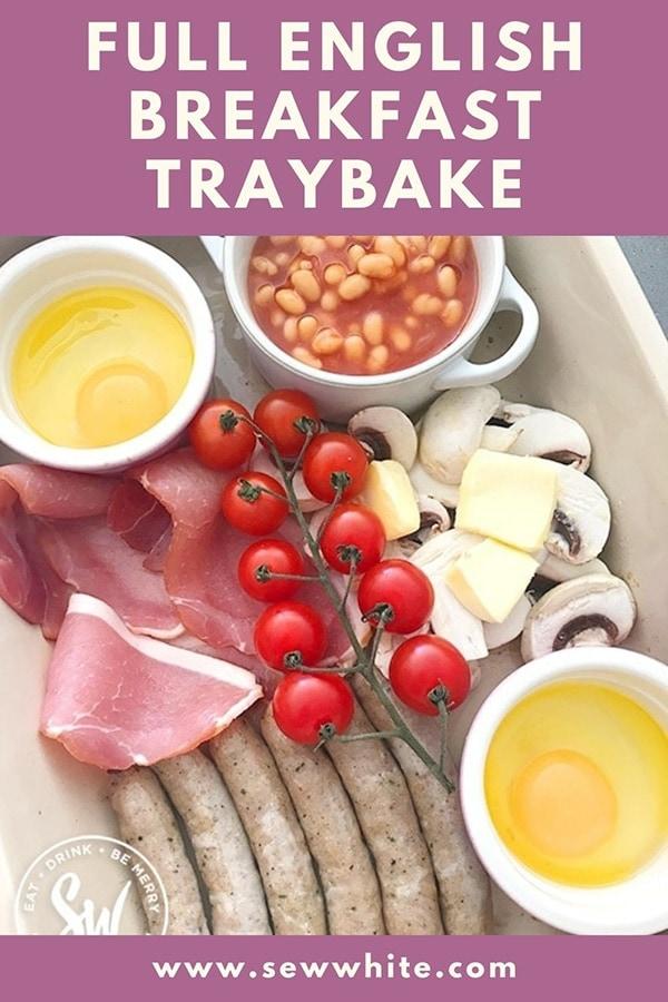 full english breakfast traybake pin